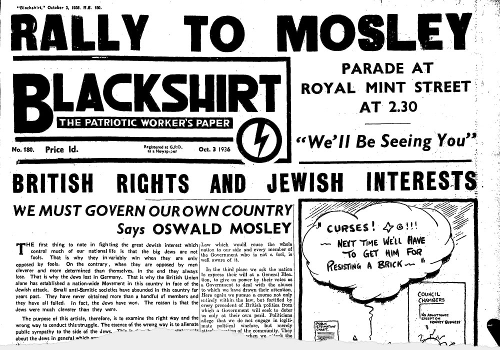 The Blackshirt advertising Mosley's march, 3 October 1936